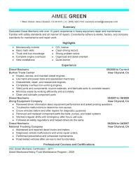 Diesel Mechanic Sample Resume