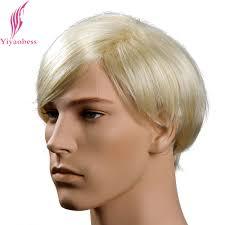 Yiyaobess 6 Inch Hittebestendige Synthetische Heren Blonde Pruik