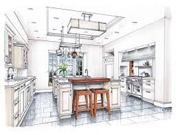 interior design color sketches. Perfect Interior New Beaux Arts Kitchen Rendering Interior Design SketchesInterior  To Color Sketches H