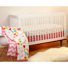 little bedding by nojo by little bedding by nojo reversible sweet tweet pink chevron print 3 piece crib bedding set com