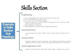 resume example for skills section sample skills resumes section of resume example template