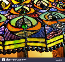 Stained Glass Lamp Shade Close Up With Beads On The Edge As Well As