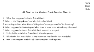 today s activities warm up reading strategies ii all block date all quiet on the western front question sheet 4 1 what has
