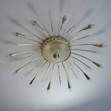 mid century modern mid century italian twelve light brass sputnik sunburst chandelier flush