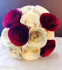Wedding Paper Flower Centerpieces Paper Flower Bouquet Red Cream Music Sheet Wedding Bouquet