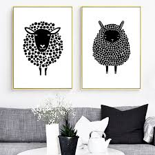 cartoon sheep wall art canvas painting nordic posters and prints animal poster black white wall pictures on black sheep wall art with cartoon sheep wall art canvas painting nordic posters and prints
