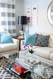 lamp glass coffee table decorating ideas classic tremendous white pillow colorful carpet