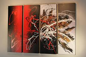 on black and white with a splash of red wall art with red black white abstract splash quadriptych canvas acrylic