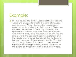 writing workshop response to literature essay author s literary  example  in the raven the author uses repetition of specific words and phrases to