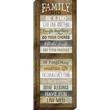 family rules print on canvas