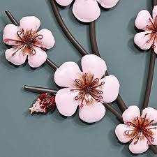 pink blossoms metal wall art black