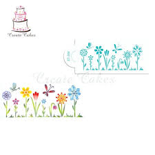 124 Wondrous Whimsical Flowers Cake Stencil Side Cake Side Stencil Cake  Border Kitchen Accessories Decoration Whimsical ...