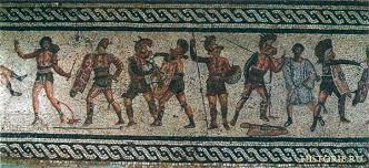 Римская империя Древний Рим Цивилизации мира история развития  Сражающиеся гладиаторы Мозаика Лептис Магна i в до н э