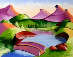saatchi art artist mark webster painting abstract geometric mountain bridge landscape