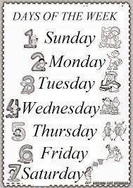 days of the week worksheet for kids - Preschool Crafts