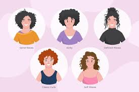 flat hand drawn curly hair types with women