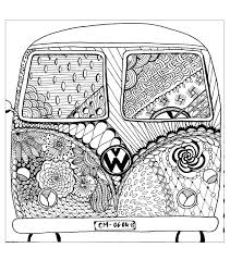 Small Picture Free coloring page coloring zentangle by cathym 8 Hippie camper