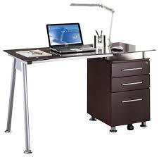 techni mobili tempered glass top computer desk in chocolate desks and hutches