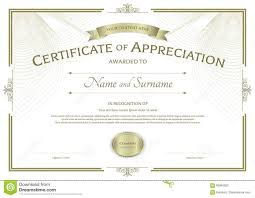 Certificate Of Appreciate Certificate Of Appreciation Template With Award Ribbon On