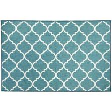 washable moroccan trellis teal 3 ft x 5 ft stain resistant accent rug