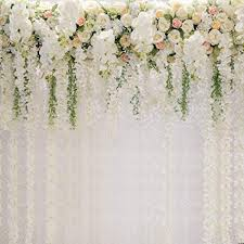 Bridal Shower Square Wedding Floral Wall Backdrop White And Green Wisteria Rose Flowers Dessert Table Decoration Newborn Background For Photography