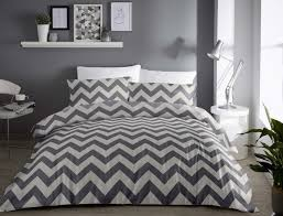 chevron silver and grey duvet sets and