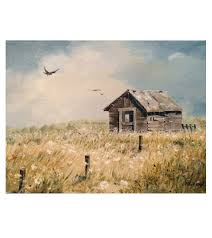 painting by linda clark uhl of an old barn in a field with queen anne s lace