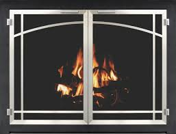 stoll fireplace glass door bar iron inset in textured black with plated brushed chrome doors and