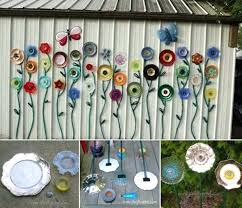 low budget garden art flower yard projects to do diy glass plate simple