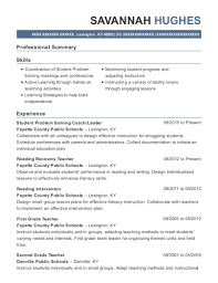 Best Reading Recovery Teacher Resumes Resumehelp