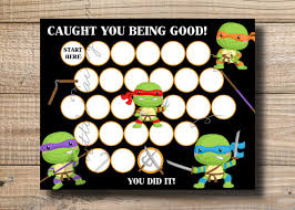 Ninja Turtle Potty Training Chart Kids Reward Chart Ninja Turtle Reward Chart By