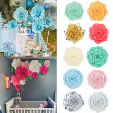 Paper Flower Business 30 40cm Paper Flower Backdrop Wall Large Rose Flowers Wedding Party