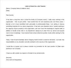 Letter of Intent For a job Transfer Word Doc