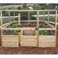 outdoor living today raised cedar garden bed with deer fencing