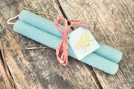 Et Al Designs Beeswax Candles 100 Natural Hand Rolled Honeycomb Beeswax Taper Candle Set Of Two Aqua Blue