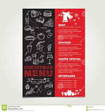 Party Menu Template Christmas Restaurant And Party Menu Invitation Stock