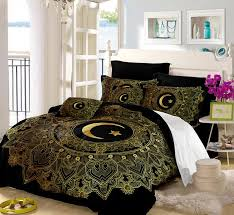 golden mandala flowers star moon duvet cover black dark blue bedding set soft quilt cover single bed queen size sj132 queen size comforter set twin