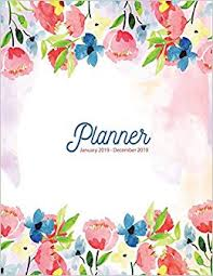 Planner January 2019 December 2019 Floral Notebook Watercolor