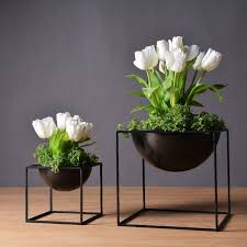 Black/White Modern Tabletop Waterproof Cube Metal Flower Plant Pot Pergola  Garden Planting Indoor Flower