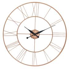 copper galvanised oversized wall clock large black and