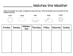 Fill In The Chart Printable Weather Chart Watch The Weather For A Week And