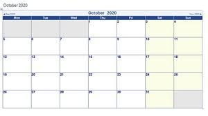 Printable October 2020 Calendar Word 2020 Calendar