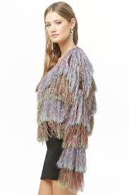 multicolored metallic fringe jacket