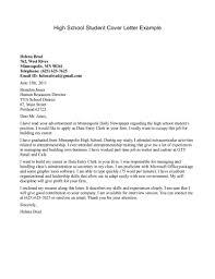 Sample Resume Cover Letter High School Student