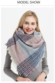 Designer Shawls And Wraps Women Designer Scarf Colorful Plaid Oversize Scarves Pashmina Shawl Wraps Double Faced Use Ring Scarf Blanket Shawls And Wraps Tying Scarves From