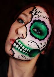 using makeup brushes gently apply the above made mixture to the entire face allow it to dry for a while you will get the exact skull look
