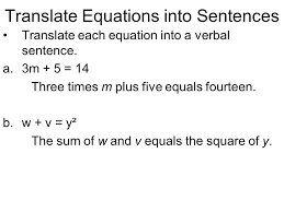 11 translate equations into sentences