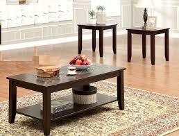 3 piece cherry finish coffee table set