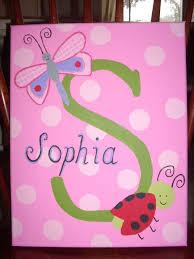 custom hand painted canvas with child s name ladybug and dragonfly theme via
