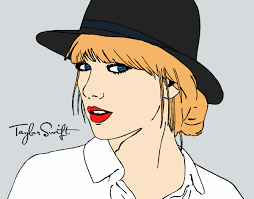 Colored Page Taylor Swift With Hat Painted By User Not Registered